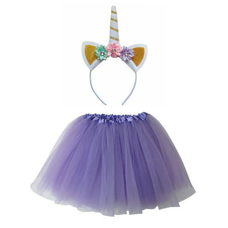 So Sydney Kids Or Adult 1-2 Pc Flower Unicorn Headband Tutu Set Costume Outfit - Skelita Costume