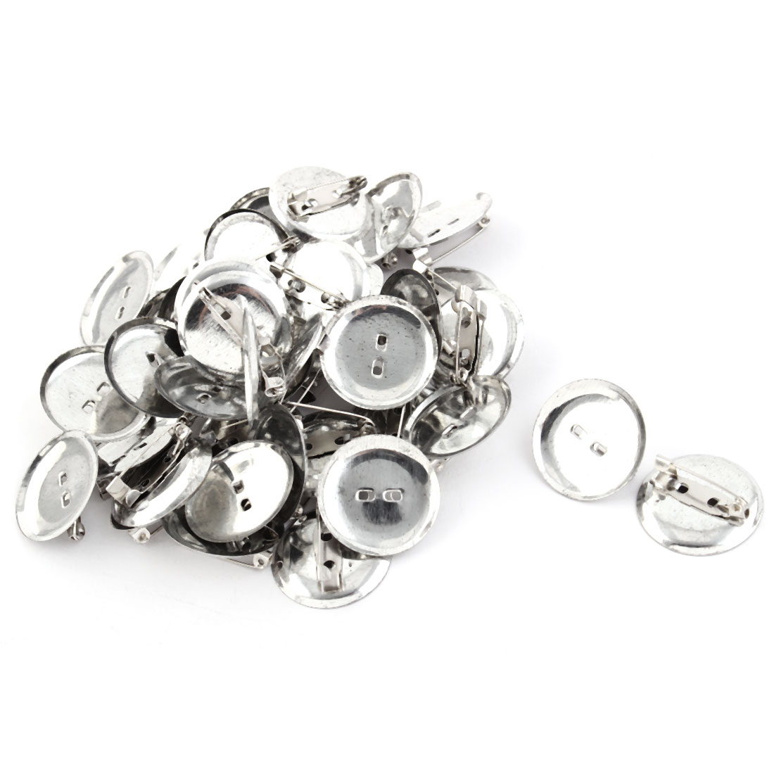 Women Round Safety Pin Back Brooch Finding DIY Base Silver Tone 2.4cm Dia 40pcs