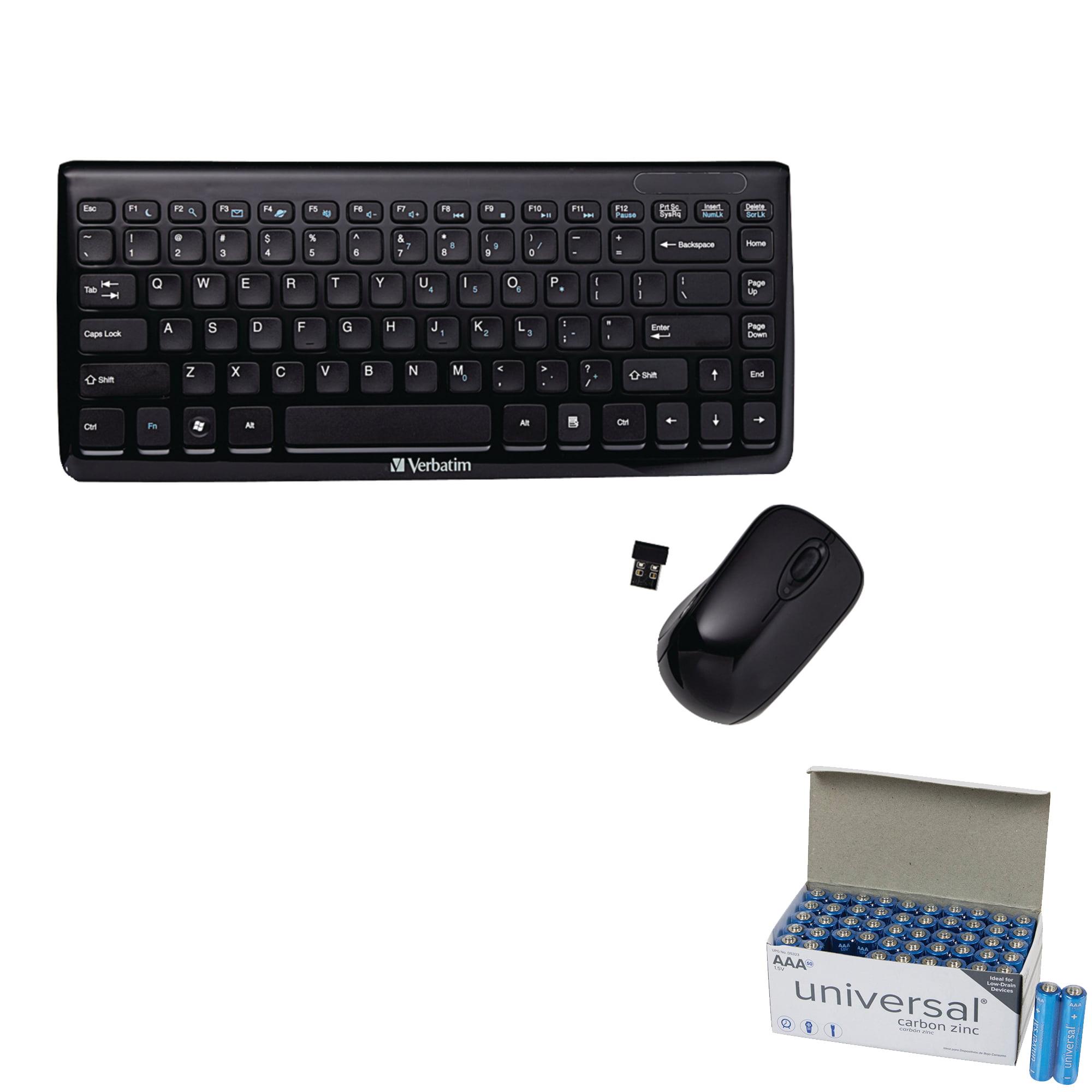 Verbatim 97472 Mini Wireless Slim Keyboard & Mouse & UPG AAA 50 Pack