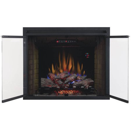 39 Traditional Built In Electric Fireplace Insert With Glass Door And Mesh Screen Dual Voltage