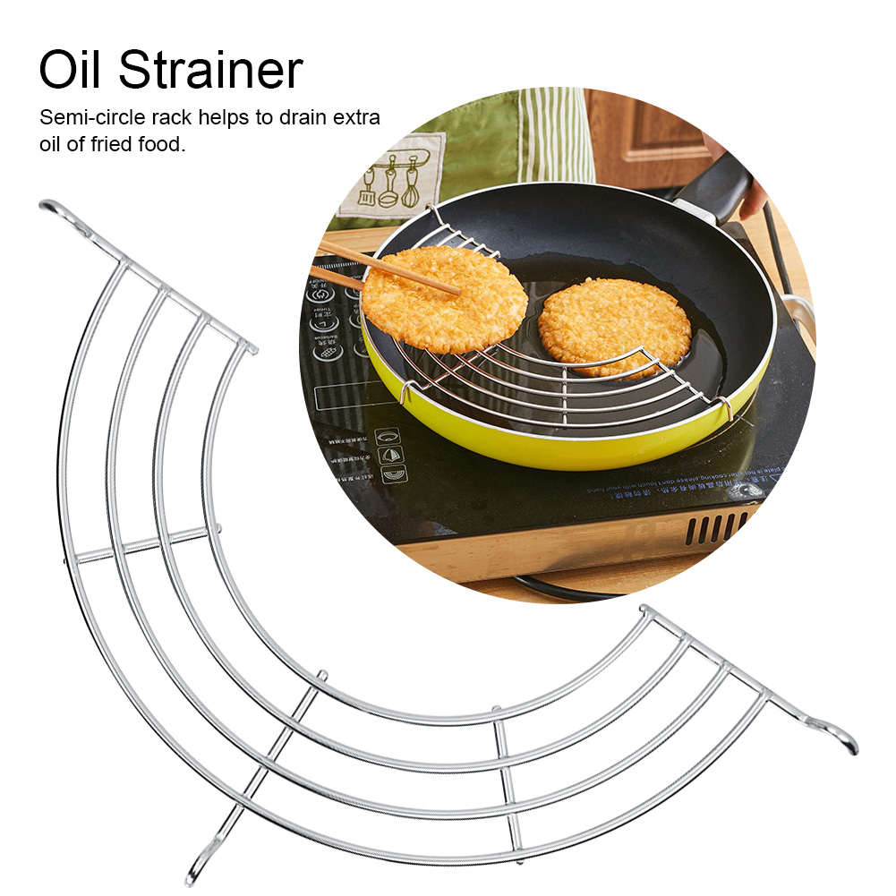 Yosoo 1PC Stainless Steel Semi-circle Steam Rack Fried Food Oil Strainer Kitchen Gadget Tool Kitchen Cooking Gadget Oil Filter Rack