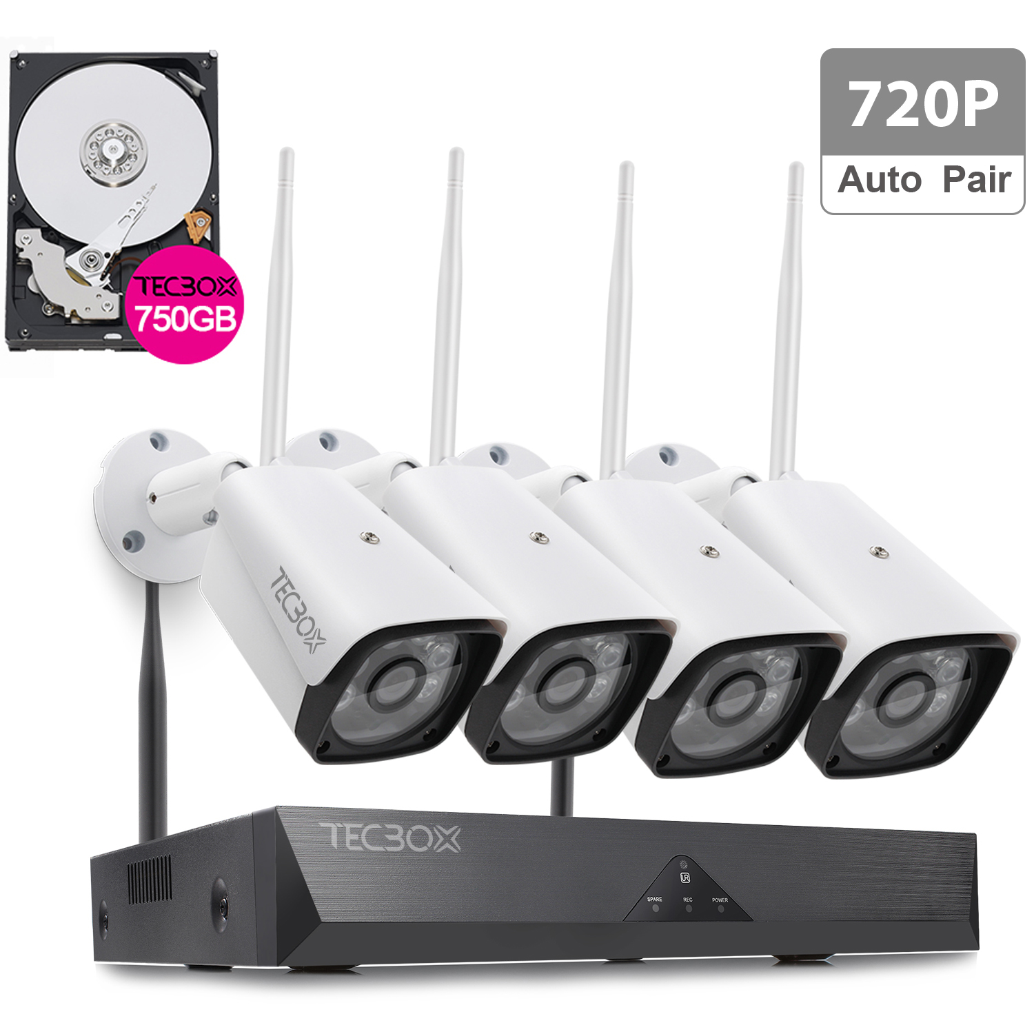 TECBOX 4CH Auto Pair Wireless Security Camera System 720P HDMI NVR, 500GB Hard Drive, 4 x 720P HD Indoor/Outdoor Weatherproof Night Vision Wireless IP Cameras,View Remotely Wifi Security Camera