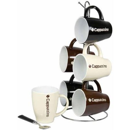 6-Piece Mug Set with Stand, Cappuccino (Capucinno Cups)