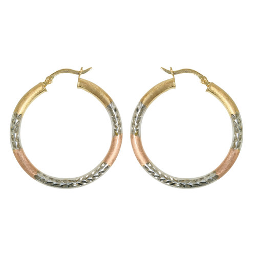 Forever New Rose Gold Tone/Gold Tone/Silver Tone Diamond-Cut Hoop Earrings