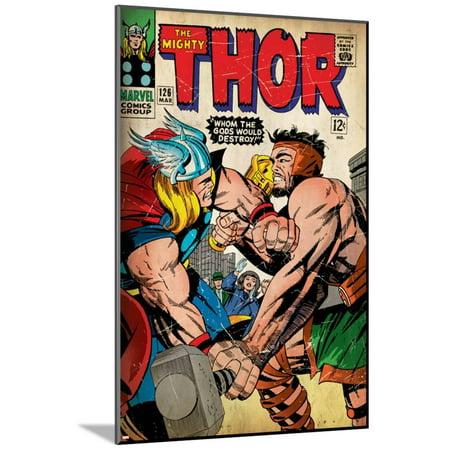 Marvel Comics Retro: The Mighty Thor Comic Book Cover No.126, Herc... Art Print