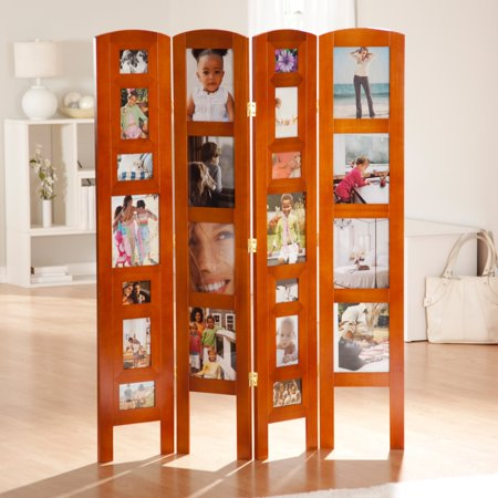 Memories Photo Frame Room Divider Honey 4 Panel