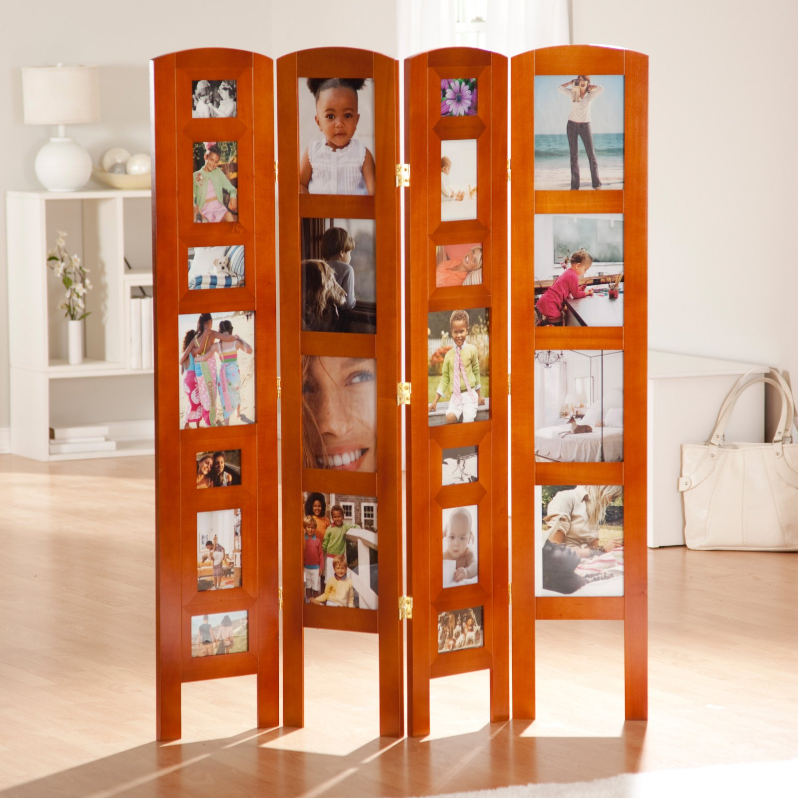 Memories Photo Frame Room Divider - Honey 4 Panel
