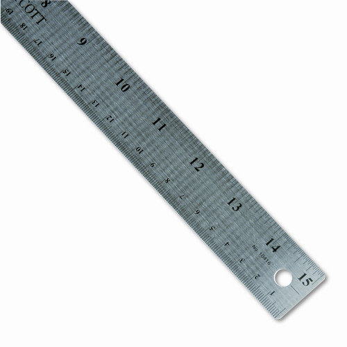 WESTCOTT Stainless Steel Ruler with Cork Back and Hang Hole, 15'', Silver