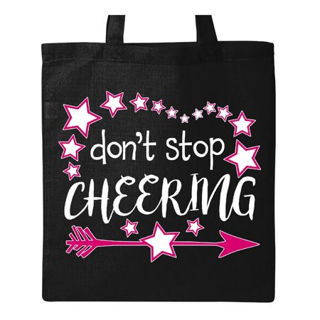 Dont Stop Cheering- cheerleader with arrow and stars Tote Bag Black One Size](Cheerleader Bags)