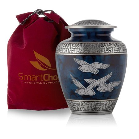 SmartChoice Royal Cremation Urn for Human Ashes - Affordable Funeral Urn Adult Urn for Ashes Handcrafted Urn (Royal Blue)