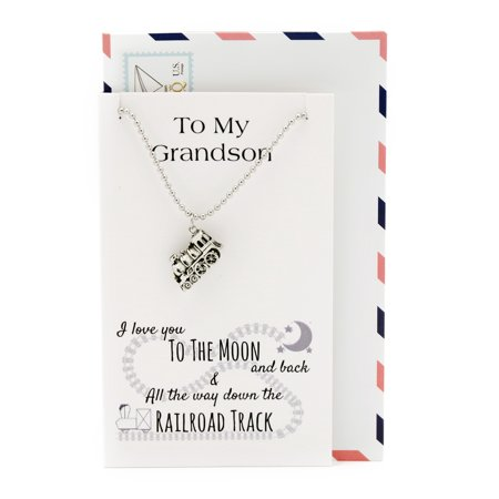 Train Necklace, I Love You To The Moon And Back and Down to the Railroad Track Grandson Gifts with Greeting Card, Silvertone, 16-in to -