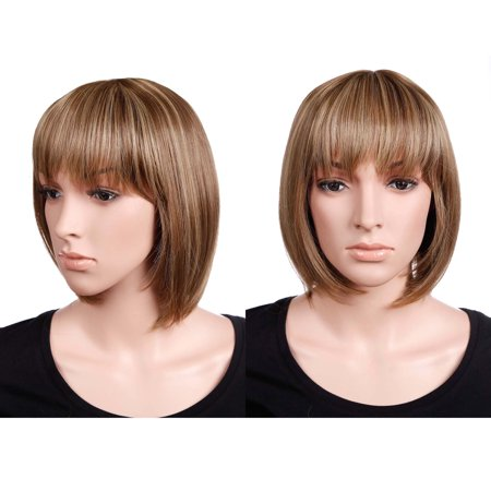 Short Blonde Bob (S-noilite Short Bob Hair Wigs Straight with Flat Bangs Synthetic Colorful Cosplay Daily Party Wig for Women Brown blonde)