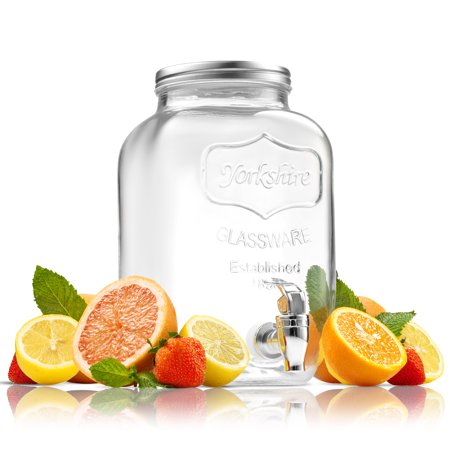 1 Gallon Crock (ShopoKus Glass Beverage Dispenser Mason Jar with Leak Proof Spigot, 1 Gallon Yorkshire)