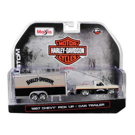 - 1987 Chevrolet Pickup Truck w/ Enclosed Car Trailer Pearl Beige/ Silver & Black
