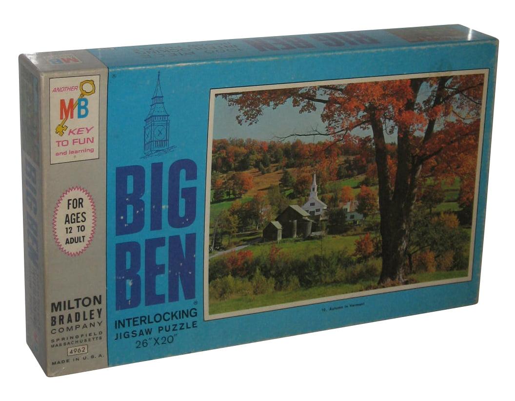 Big Ben Autumn In Vermont 1000pc Jigsaw Milton Bradley Puzzle (26 x 20 inches) by Milton Bradley