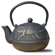 "22 Oz. Matte Black Cast Iron ""Tora"" Teapot"