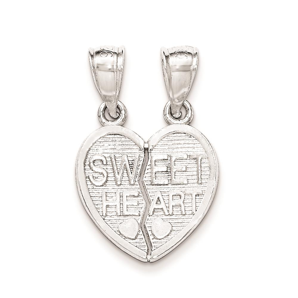 925 Sterling Silver Polished Sweet Heart Break Apart Textured Charm Pendant