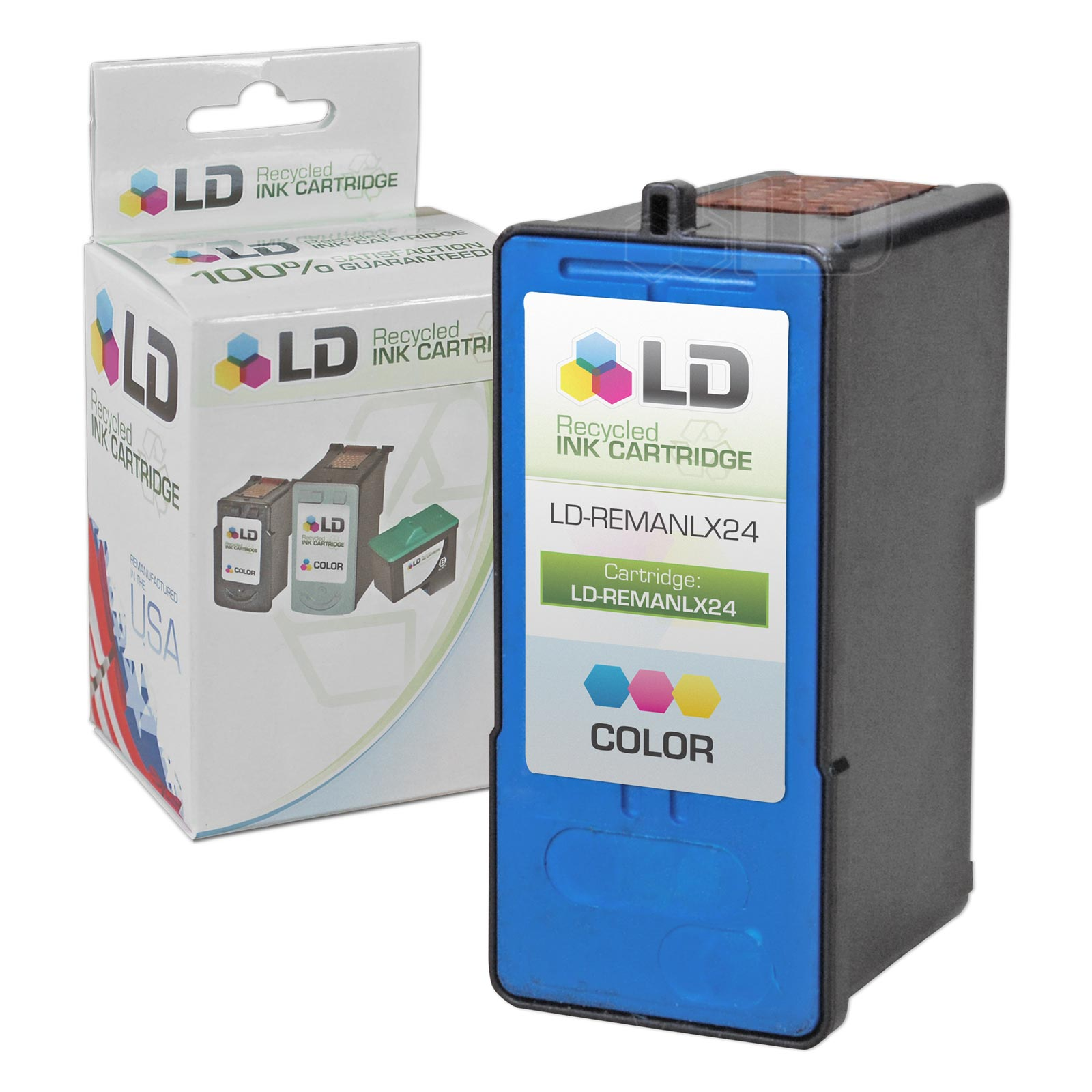LD Remanufactured Replacement for Lexmark 18C1524 / #24 Color Inkjet Cartridge for use in Lexmark X3430, X3530, X3550,