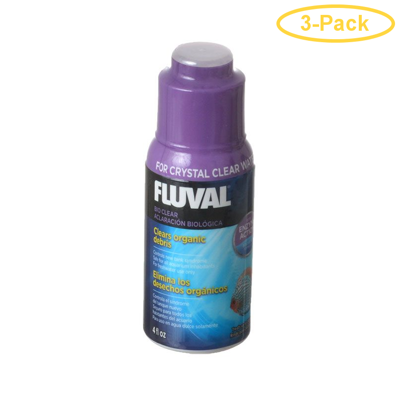 Fluval Bio Clear 4 oz (120 ml) - Treats 240 Gallons - Pack of 3