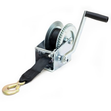 Driver Recovery Manual Hand Crank Trailer Winch with Hook and 20' Strap - Heavy Duty 1,500 Pound