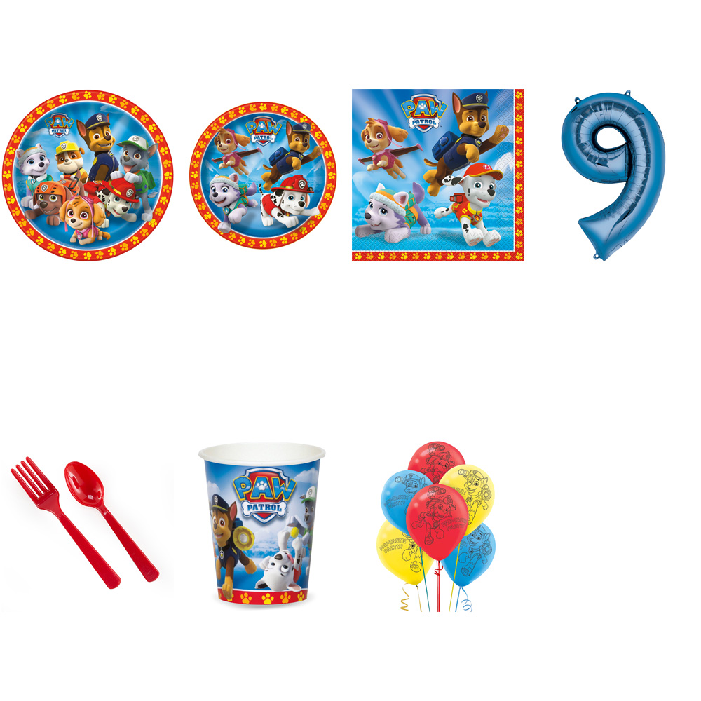PAW PATROL PARTY SUPPLIES PARTY PACK FOR 32 WITH BLUE #9 BALLOON