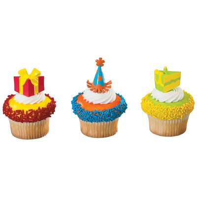 Gift Package Cake Slice Party Hat -24pk Cupcake / Desert / Food Decoration Topper Picks with Favor Stickers & Sparkle Flakes