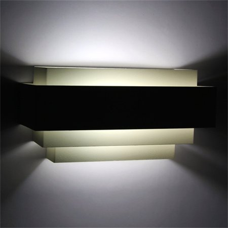 Contemporary Indoor Up & Down Wall Light Curved White Square Lighting Lamp - image 4 de 6