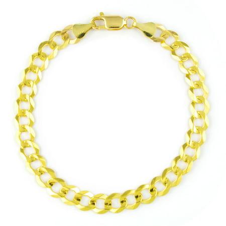14k Yellow Gold Solid 7mm Italian Fine Curb Cuban Chain Bracelet 8