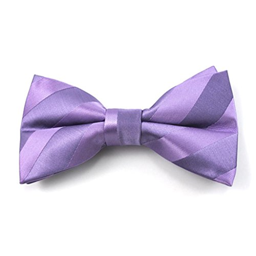 Lavender Solid Color Tonal Stripe Clip on Bow Ties