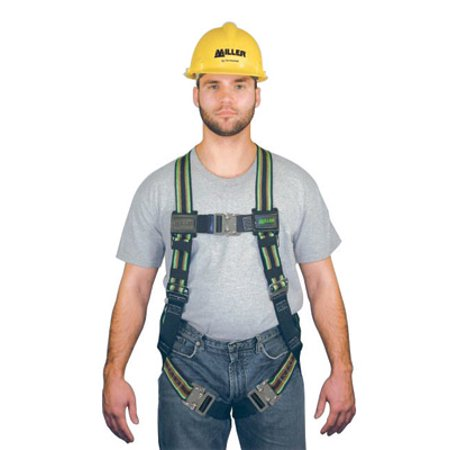 Miller Universal Green DuraFlex Full Body Harness With Friction Shoulder Strap Buckles And Matting Buckle Leg Straps