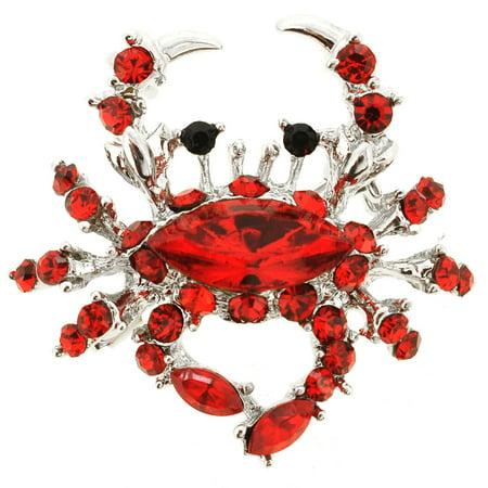 Red Crab Crystal Pin Brooch And