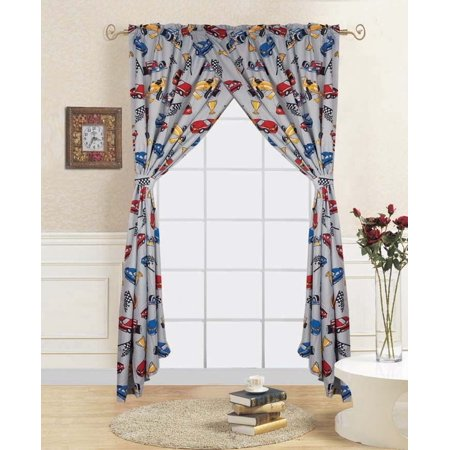 4-PC RACE CAR Kids Bedroom Window Panel Pair, Set of Two Rod Pocket  Curtains 38\