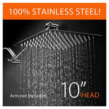 HotelSpa® Giant 10-inch Stainless Steel Slimline Square Rainfall Showerhead (w/o Arm)