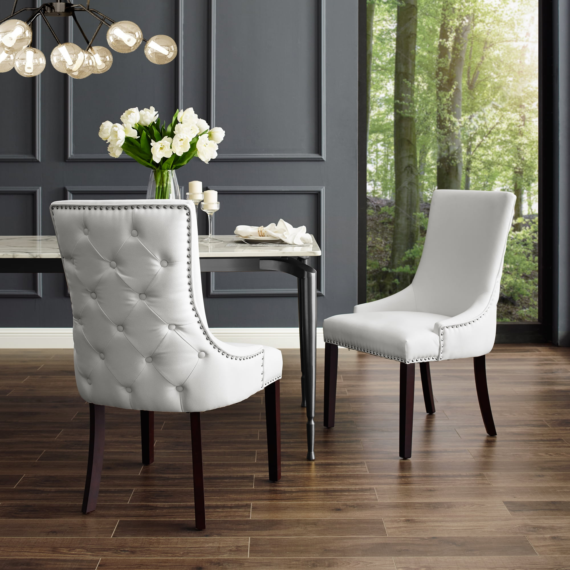 Free Kitchen Tufted Dining Bench With Back Ideas With: Annabelle White Leather PU Dining Chair - Set Of 2
