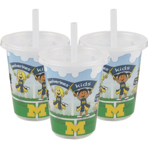 Michigan Wolverines NCAA 10 oz Sip n Go Plastic Cups (Set of 3) BPA Free