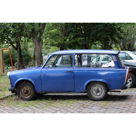 Canvas Print GDR Trabant Blue Germany Old Retro Side Part Car Stretched Canvas 10 x 14 (Retro Parts)
