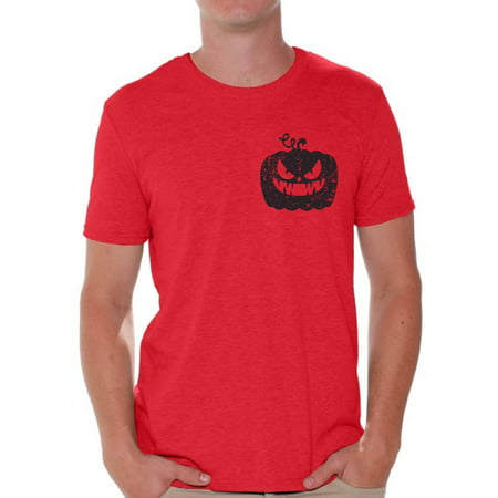 Awkward Styles Jack-O'-Lantern Pumpkin Pocket Tshirt Halloween Pumpkin T Shirt Halloween Shirt for Men Gifts for Halloween Spooky Shirt Scary Pumpkin Tshirt Men's Halloween T-Shirt Pumpkin Face - Mean Halloween Pumpkin Face
