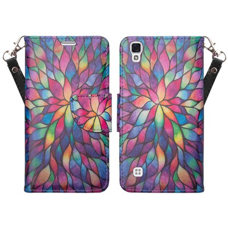 LG Tribute HD | X Style | Volt 3 Case, Wrist Strap Pu Leather Magnetic Flip Fold[Kickstand] Wallet Case with ID & Card Slots - Rainbow Flower ()