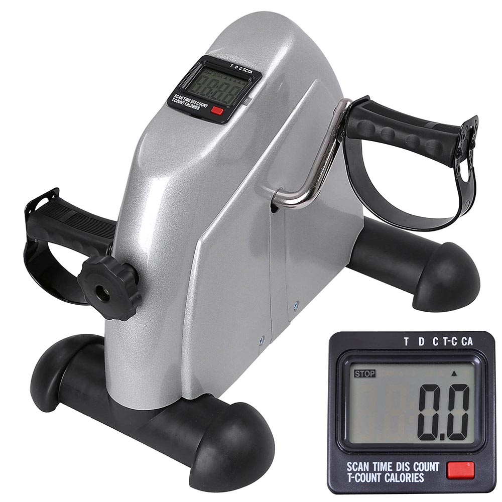 LCD Display Pedal Exerciser Mini Cycle Fitness Exercise Bike Indoor Stationary Exercise Cycling Silver