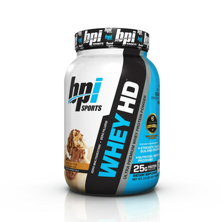 BPI Sports Whey HD Ultra Premium Protein Powder, Peanut Butter Ice Cream Bar, 2.07 Lb