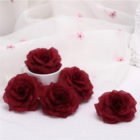 5pcs Artificial Fake Flower Home Decor Silk Rose Head Bulk Wedding Party ()