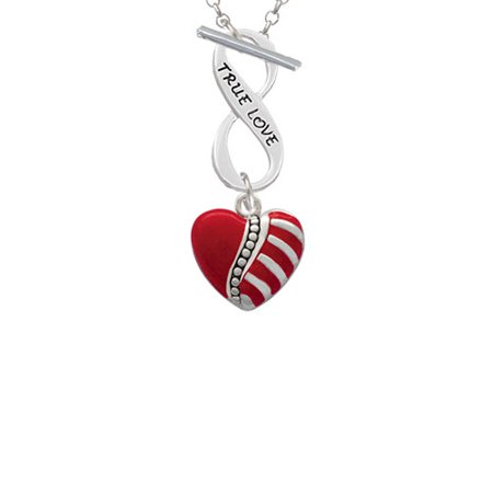 Striped Red Enamel Heart with Beaded Decoration True Love Infinity Toggle Chain Necklace