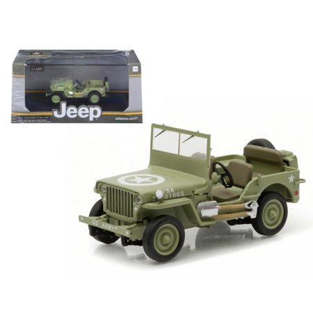 M38 Willys Jeep (1944 Jeep Willys C7 U.S. Army Green with Star on Hood 1-43 Diecast Model Car by Greenlight )