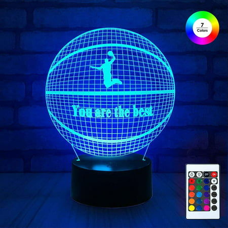 3D Remote Night Stand Light, EpicGadget Touch Control Optical Illusion Visualization LED Night Light Lamp 7 Colors Changing Remote Control Night Light Lamp Stand (Basketball)](Glowing Ball Night Light)