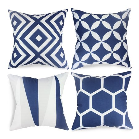 FabricMCC Set of 4 Geometric Pillow Covers Decorative Couch Throws Cases Cushion Covers 18 x 18 for Living Room ()
