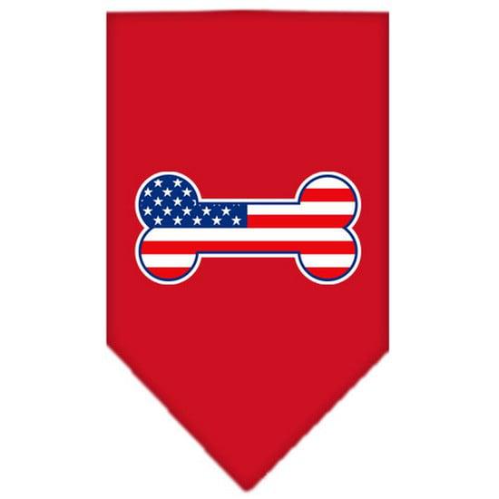 Mirage 66-08 LGRD Bone Flag American Screen Print Pet Bandana Red Large