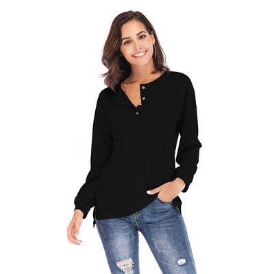 Women's Long Sleeve Henley Tops Button Down Pullover Blouse (Hurley Shorts For Women)