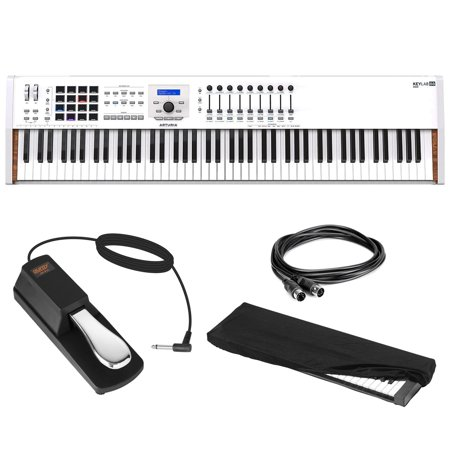 Arturia KeyLab 88 MkII Hammer-Action MIDI Controller (White) with Sustain Pedal, MIDI Cable 10' & Keyboard Dust Cover (Large) Bundle ()
