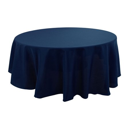 "Polyester Tablecloth Round 71"" Dia Navy Blue Stain Water Resistant for Picnic - image 7 of 7"
