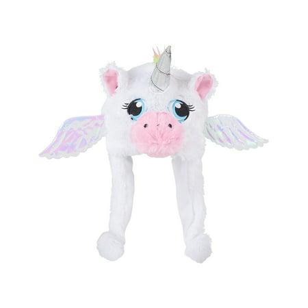 Child's Plush White Mythical Flying Unicorn Hat Costume Accessory